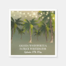 Beach Lights Palm Tree Tropical Wedding Napkins
