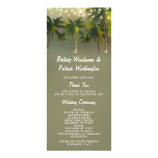 Beach Lights Palm Tree Tropical Wedding Programs