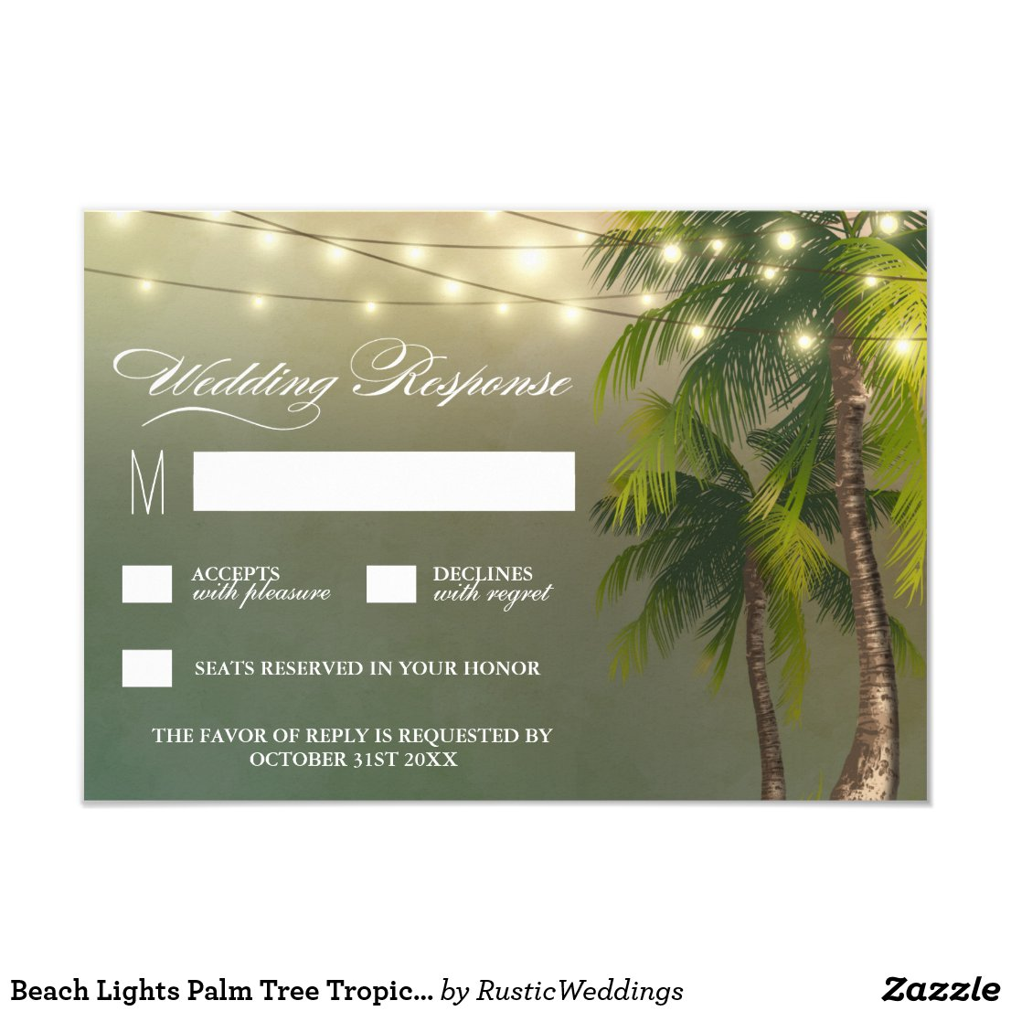 Beach Lights Palm Tree Tropical Wedding RSVP Cards