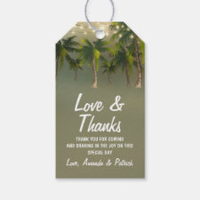 Beach Lights Palm Tree Wedding Thank You Gift Tags