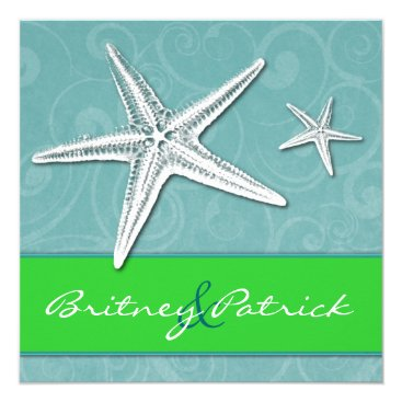 Beach Themed Beach Lime Green Aqua Starfish Wedding Invitations