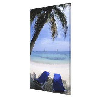 Beach, Lounge Chair, Palm tree, Horizon Over Gallery Wrapped Canvas