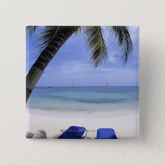 Beach, Lounge Chair, Palm tree, Horizon Over Pinback Button