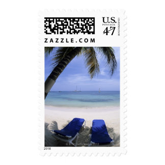 Beach, Lounge Chair, Palm tree, Horizon Over Postage Stamp
