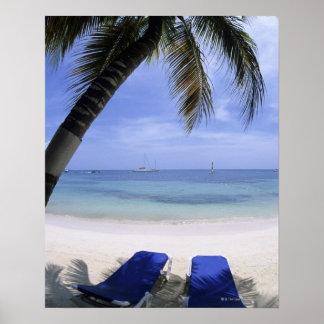 Beach, Lounge Chair, Palm tree, Horizon Over Poster