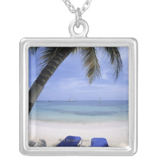 Beach, Lounge Chair, Palm tree, Horizon Over Silver Plated Necklace