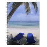 Beach, Lounge Chair, Palm tree, Horizon Over Spiral Notebook