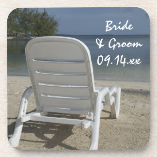 Beach Lounge Chair Wedding Beverage Coaster