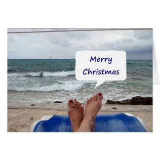 "BEACH LOUNGER SAYS ""MERRY CHRISTMAS"" CARD"