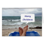 "BEACH LOUNGER SAYS ""MERRY CHRISTMAS"" GREETING CARD"