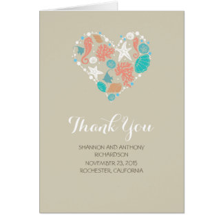 beach love heart romantic wedding thank you stationery note card