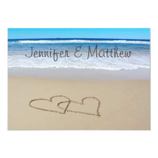 Beach Love Hearts wedding invitation