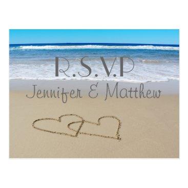 "Beach Themed Beach Love Hearts wedding ""rsvp"" postcard"
