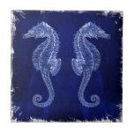 beach love ocean blue vintage sea horses ceramic tile