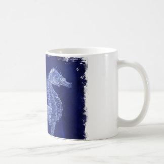 beach love ocean blue vintage sea horses mugs