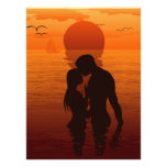 Beach Love Romance Silhouette Couple In The Sea Photographic Print
