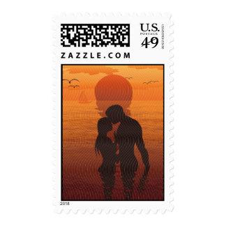 Beach Love Romance Silhouette Couple In The Sea Postage