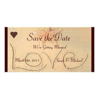 Beach Love Wedding Announcement Photo Card