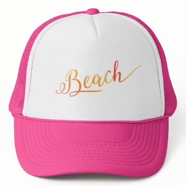Beach Themed Beach Lovely Stylized Peach Color Trucker Hat