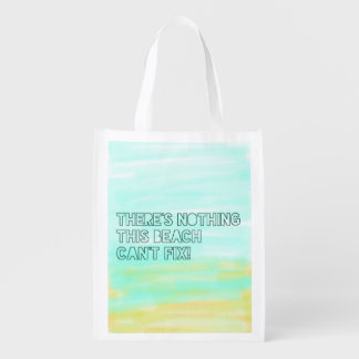 Beach Lover Quote Watercolor Typography Grocery Bag