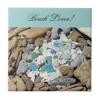 Beach Lover! Tile Art Blue Sea Glass Seashells