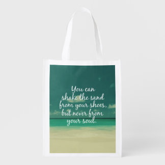 Beach Lovers Quote Grocery Bag