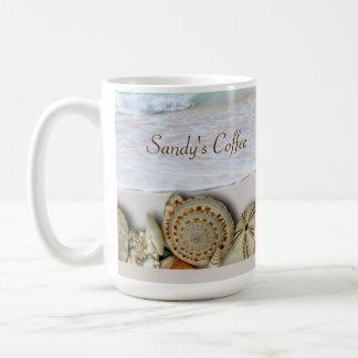 Beach Lovers Seashell and Ocean Custom Coffee Mug