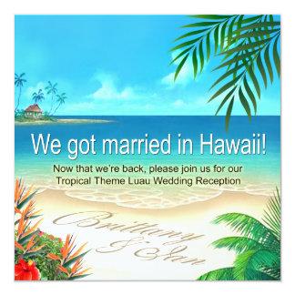 Beach Luau Hawaii Reception get names in sand Invitation