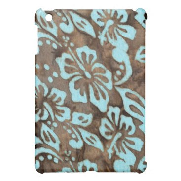Beach Themed Beach Luau Hibiscus Flower IPad Blue Brown Case For The iPad Mini