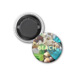 BEACH magnets Blue Green Sea Glass Agates Shells
