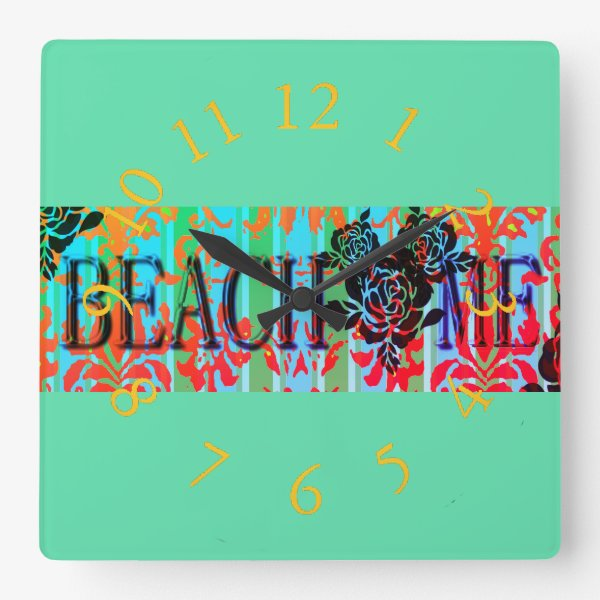 Beach-Me*-Bohemian-Retro-Green(c)Multi-Choices Square Wall Clock