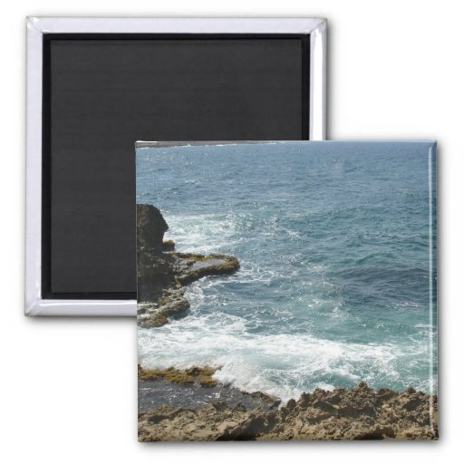 Beach Meets Ocean 2 Inch Square Magnet