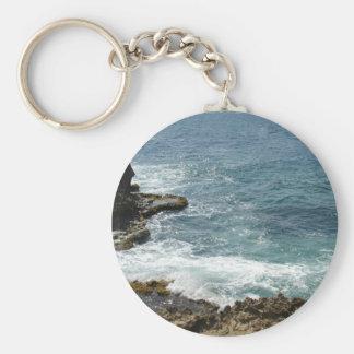 Beach Meets Ocean Basic Round Button Keychain