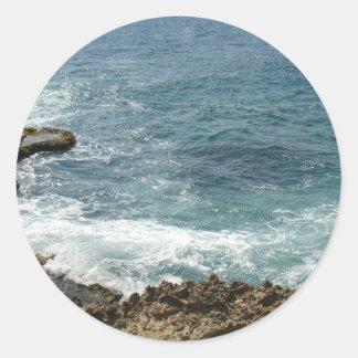 Beach Meets Ocean Classic Round Sticker