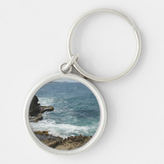 Beach Meets Ocean Silver-Colored Round Keychain