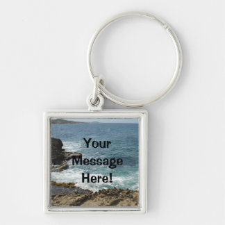 Beach Meets Ocean Silver-Colored Square Keychain
