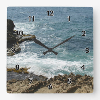 Beach Meets Ocean Square Wall Clock