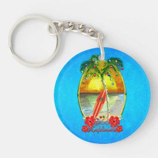 Beach Mele Kalikimaka Acrylic Keychain