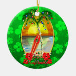 Beach Mele Kalikimaka Double-Sided Ceramic Round Christmas Ornament
