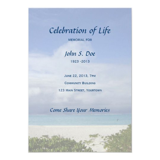 beach memorial celebration of life invitation zazzle com