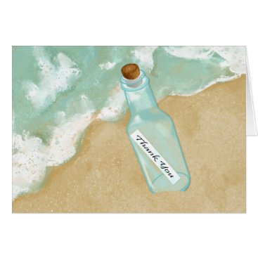Beach Themed Beach Message In A Bottle Thank You Card