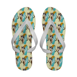 Beach Monkey cartoon Flip flop sandals