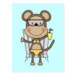 Beach Monkey Cool Drink T-shirts and Gifts Postcard