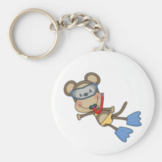 Beach Monkey Snorkeling Tshirts and Gifts Keychain