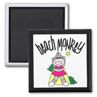 Beach Monkey Tshirts and Gifts 2 Inch Square Magnet