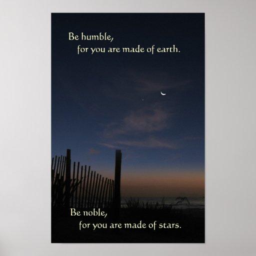 "Beach Moon Sunrise ""Be Noble"" Poster"