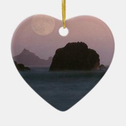 Beach Moonset Rockaway Ceramic Ornament