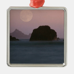 Beach Moonset Rockaway Metal Ornament