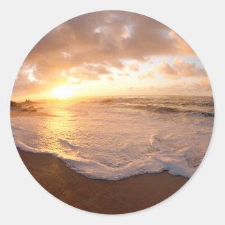 Beach Moorea Island Sunset French Polynesia Classic Round Sticker
