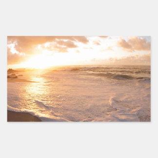 Beach Moorea Island Sunset French Polynesia Rectangular Sticker